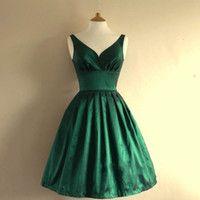 Vestido de partido corto de la vendimia 1950 vestidos de esmeralda con cuello en V una línea vestido de coctel de la foto verdadera tamaño más vestidos para las mujeres Vestidos formales de J114