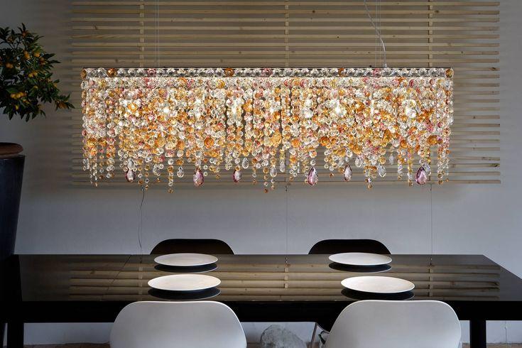 OTTOCENTO lustre rectangulaire multicolore - Masiero, spécialiste du lustre en cristal et de la lampe en verre de murano - Réf. 10120117