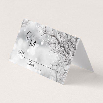 Custom Elegant Monogram Winter Snow Wedding Place Card - black gifts unique cool diy customize personalize