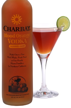 My new fav martini!  CHARBAY Blood Orange Cosmo:  1.5 oz. CHARBAY Blood Orange Vodka   1/2 oz. cranberry juice   1/2 oz. Cointreau   Combine ingredients in a shaker with ice; squeeze a lime wedge into the shaker & add it into the shaker; shake until frosty and strain into a martini glass; garnish with lime wheel