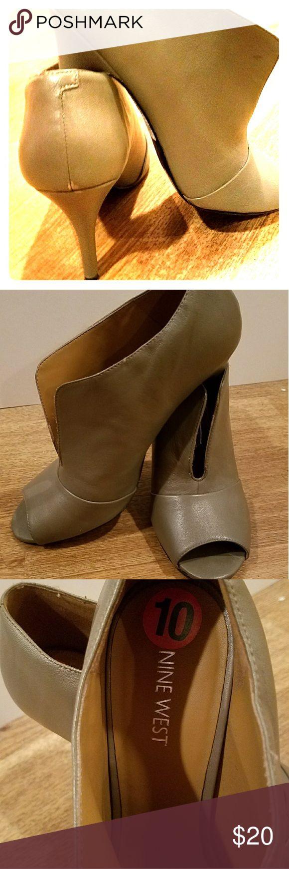 Nine West ladies shoes 3.25 inch heels Nine west Artissa style Slip-on heels in taupe. Peek-a-boo toe. Classy and elegant! Nine West Shoes Heels