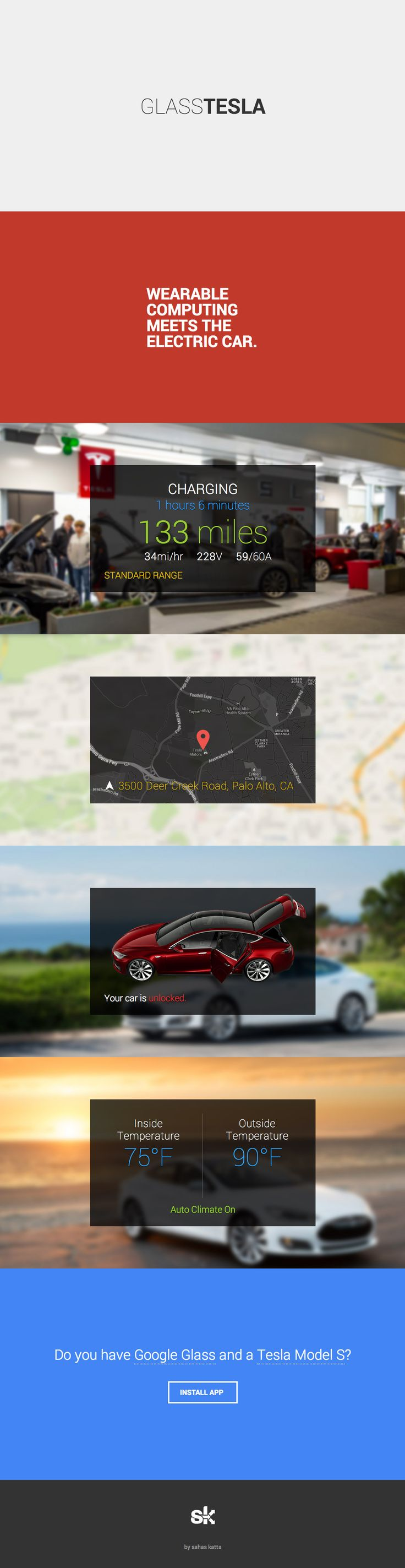 Simple landing page with tons of breathing room that promotes a new app that integrates Google Glass with Tesla's Model S car.