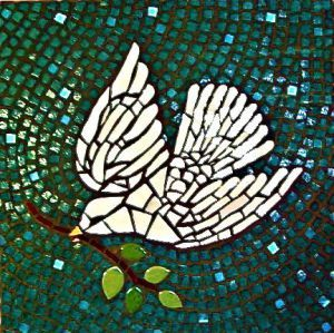 White Peace Dove mosaic by jane Kelly