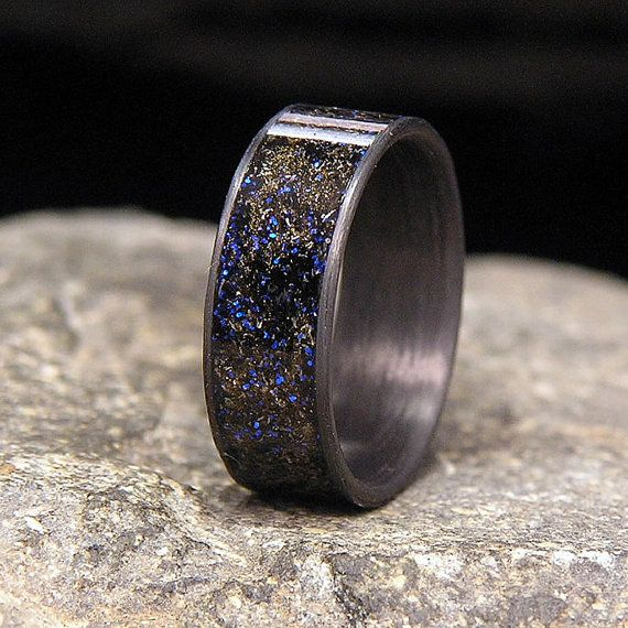 Blue Twilight Gibeon Meteorite Shavings Inlay by HolzRingShop