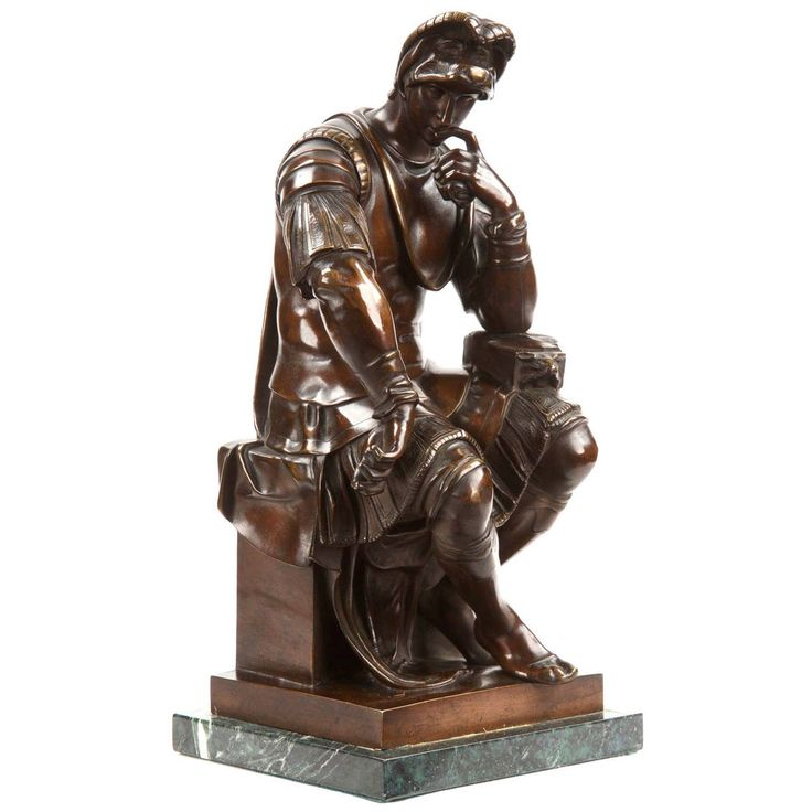 """""""Lorenzo de Medici"""" Antique Bronze Sculpture after Michelangelo, 19th century 