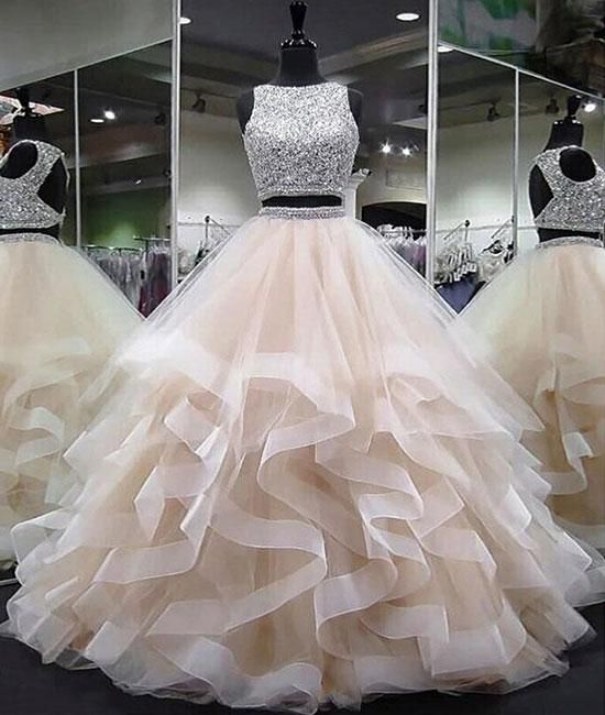 Champagne two pieces sequin tulle long prom dress, champagne evening dress