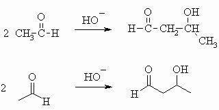 Aldol condensation of ethanal