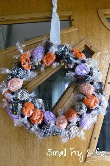 halloween candy wreath made with faux candy - Halloween Candy Wreath
