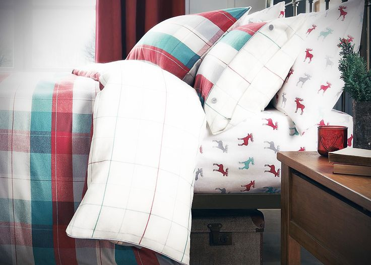 Brushed cotton woven check bed set from Next