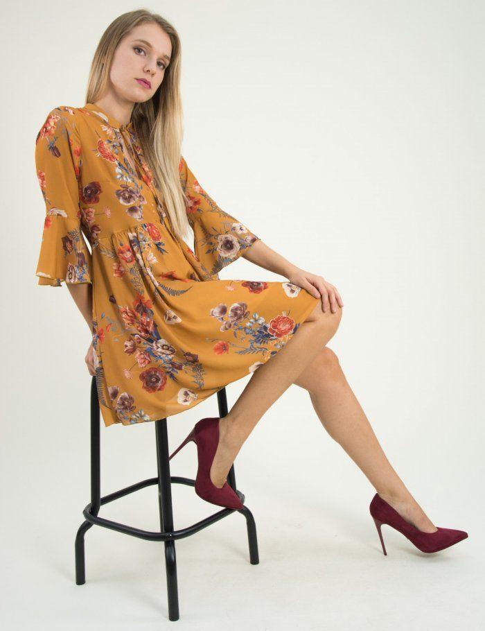 Γυναικείο ώχρα κλος φόρεμα βολάν μανίκια Lipsy 2180601  φθινόπωρο  foremata   φορέματα  τορουχο  torouxo floral 635197382f7