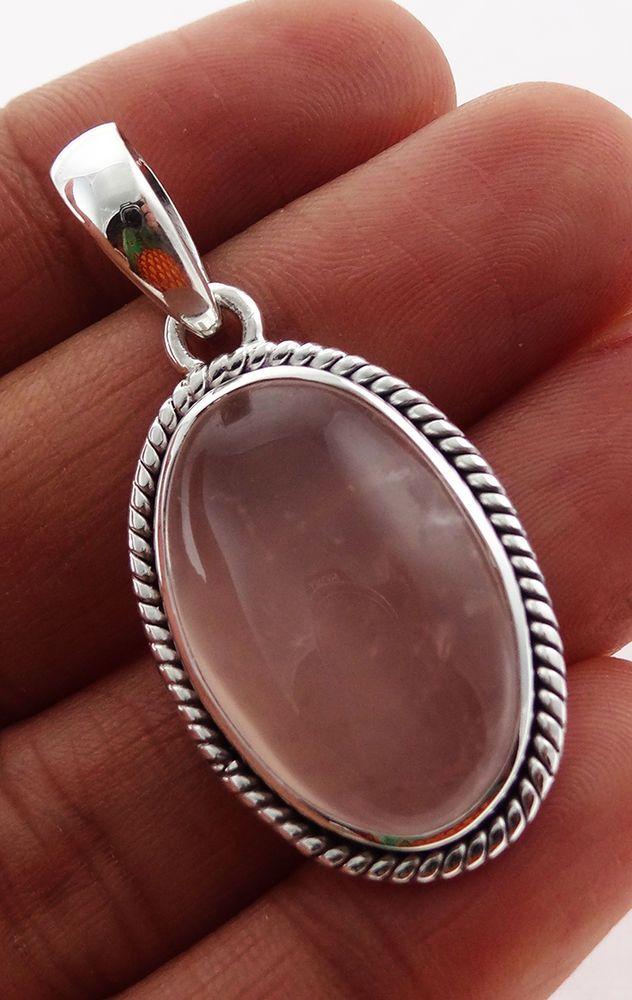 Rose Quartz 925 Solid Sterling silver Pendant Jewelry (RQ-10) #Rananjay #HandmadePendant