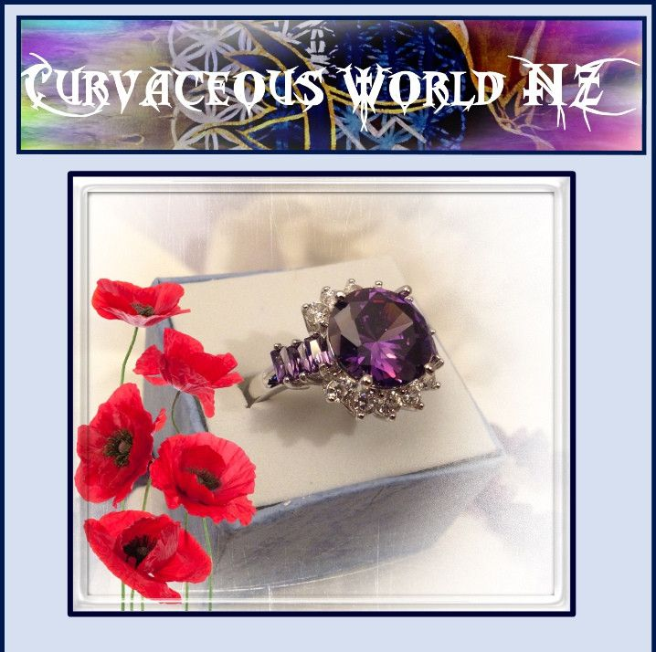 Amethyst (CZ) and Topaz cushion setting ring size 10 only