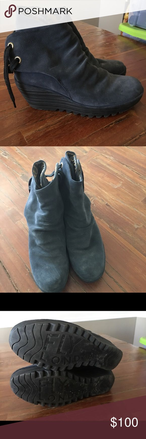 Fly London Yama size 10 Navy blue suede Fly London Yama boot.  Size 10.  Worn less than 5 Times.  Great boots! Fly London Shoes Ankle Boots & Booties