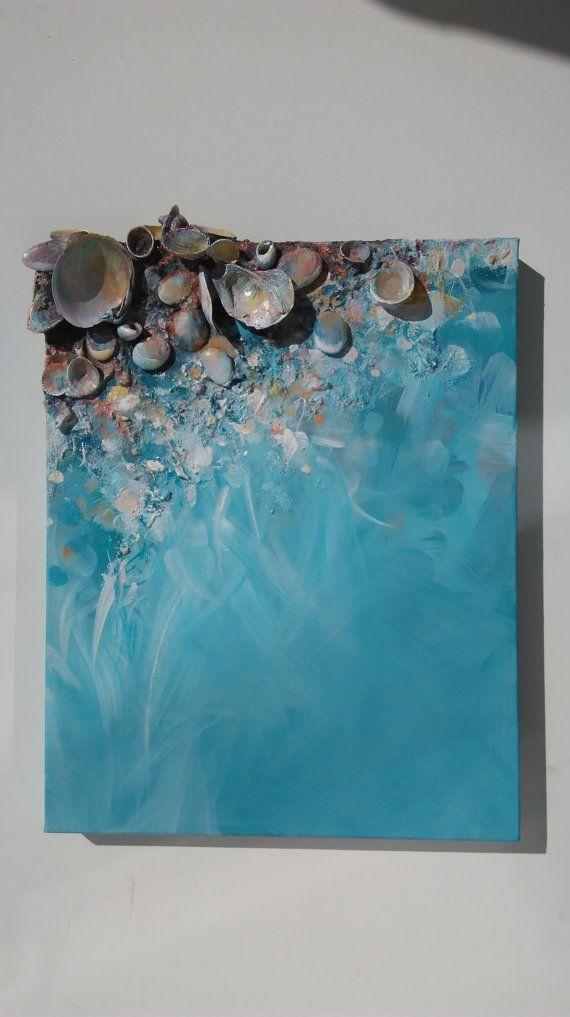 Turquoise kunst, Seashell schilderen, origineel schilderij Blue, zee * acryl, abstracte schilderkunst ondertekend, Mixed Media, Seashell, Love Art, zee kunst