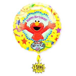 "Elmo Birthday Sing-A-Tune Mylar Balloon.  Sing-A-Tune Balloons are singing & talking Balloons. In fact, they are more than just a balloon. Sing-A-Tune balloons are an amusing, interactive greeting, gift, party decoration, party favour, and more!  Simply inflate balloons and tap to play. Plays: Elmo singing ""Happy Birthday"". Measures 28""."