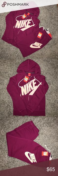 Nike sweat suit Maroon 2 piece Nike sweatsuit. Zip up hoodies bottoms are elastic jaw string waist with ankle synching. NWT Nike Pants Track Pants & Joggers
