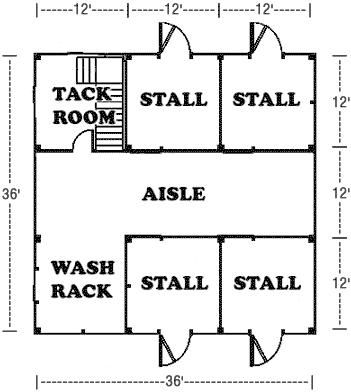 Horse barn plan. one day!!! I will have a barn like this! with two more stalls, n instead of wash rack, be another stall!!
