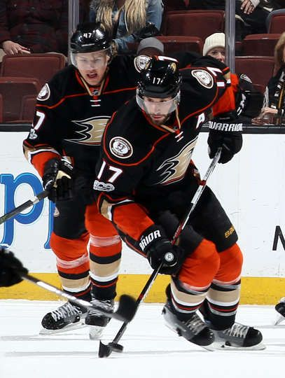 Ryan Kesler 17 of the Anaheim Ducks handles the puck during the game against the Arizona Coyotes
