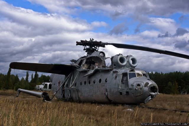 Scrap metal aircrafts and other vehicles in Chernobyl