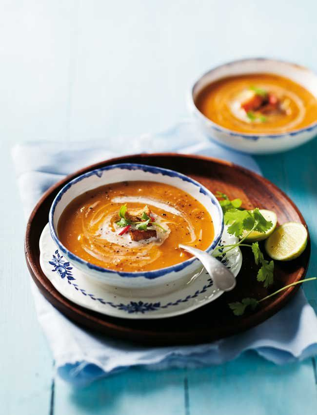 Garnish this delicious soup with a swirl of coconut milk and fresh coriander leaves.