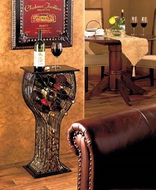 Fun Ways To Display Wine Corks: Glass Shaped Table Wine Rack Bottle & Cork Storage Holder