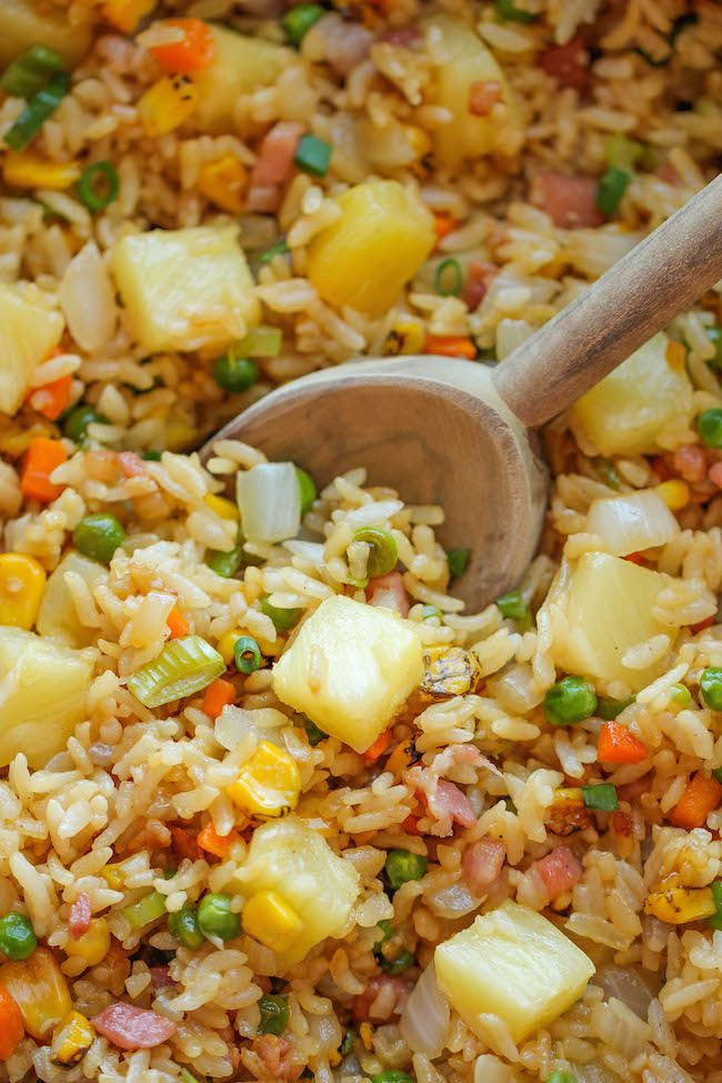Pineapple Fried Rice- if vegan replace ham with tofu or tempeh or vegan ham