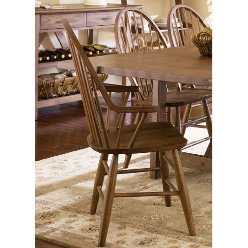$166 woudl be perfect in black Farmhouse Weathered Oak Windsor Back Arm Chair Liberty Furniture Windsor Chairs Dining Cha