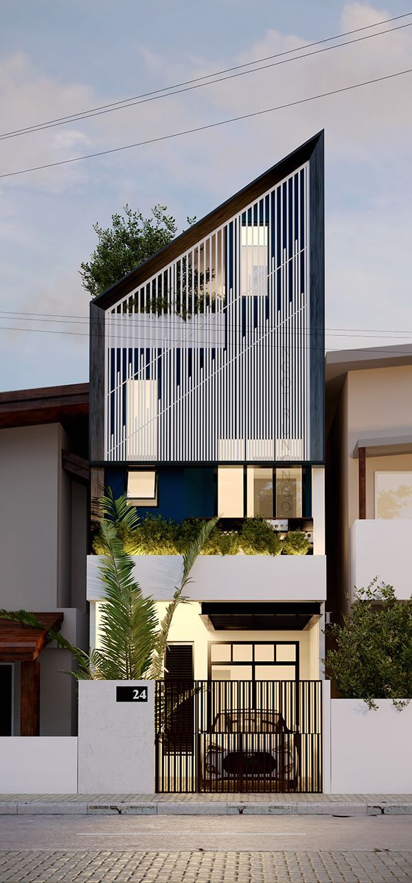 Narrow House Facade House House Facade Design House Facades Modern Houses Narrow House