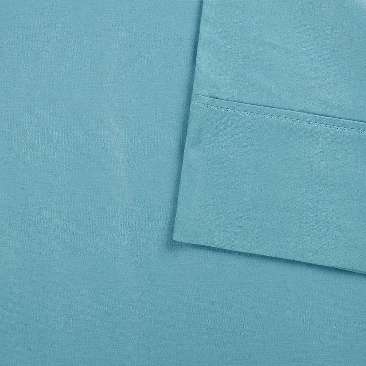 Sleep Philosophy Snug Grip 300 Thread Count Cotton Sateen Pillowcases, Turquoise/Blue (Turq/Aqua)