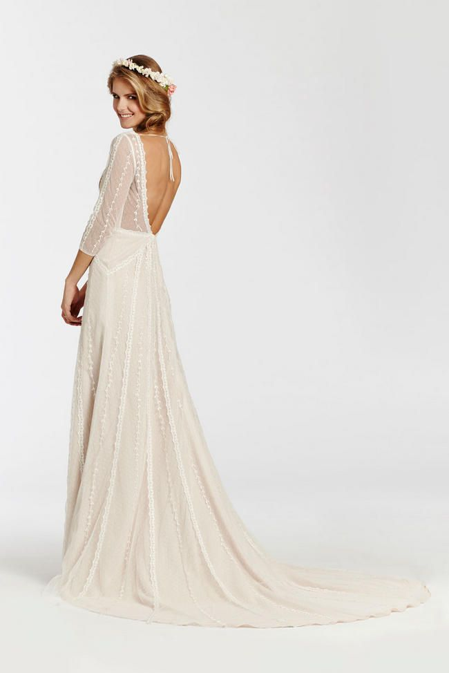 Bohemian chic Ti Adora Wedding Dress from the 2015 collection. Love the three quarter lace sleeves,