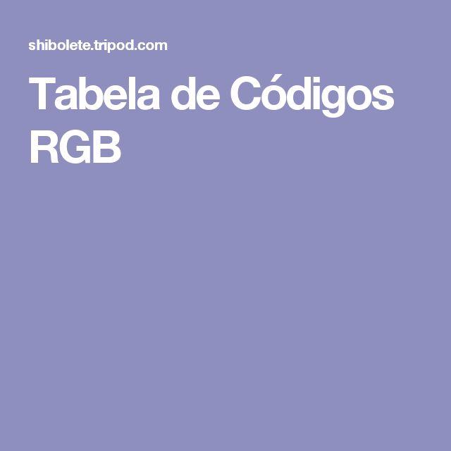 Tabela de Códigos RGB