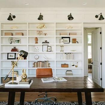 Built In Bookcase with Swing Arm Sconces, Cottage, Den/library/office