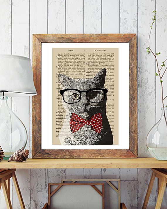 Hipster Cat Poster Print Dictionary Print Printable Poster