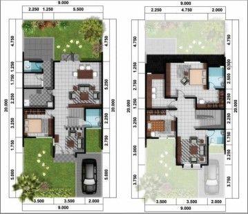 Gambar Denah Rumah Minimalis 2 Lantai Modern 3