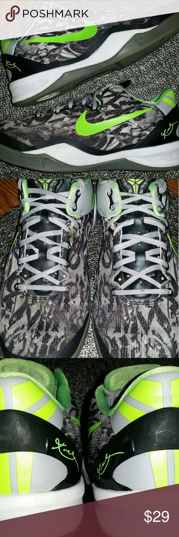 Nike Kobe 8 BG White/Black with dark grey and flash lime EUC with one exception - one of the shoelaces is missing the plastic on the end.  Easy fix Price reflects Nike Shoes Sneakers