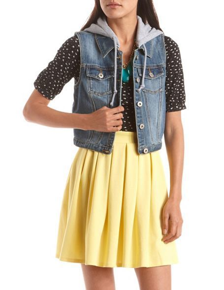 Dollhouse Knit Hood Denim Vest: Charlotte Russe