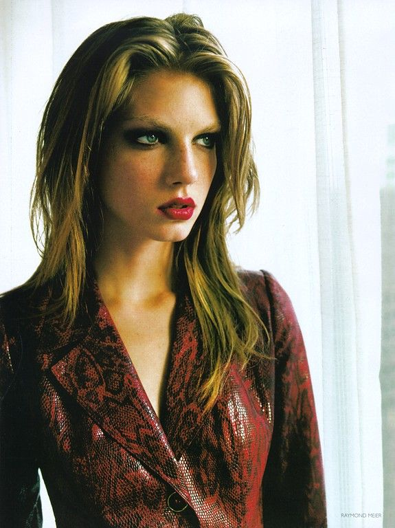 Angela Lindvall by Raymond Meier for Vogue UK - Emanuel Ungaro snake-print leather jacket