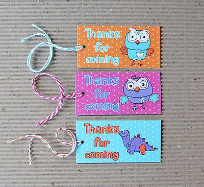 Giggle And Hoot Mixed Set Of 12 Tags For Birthday Party Favour Bags or Boxes