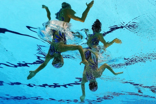 Olivia Federici and Jenna Randall of Great Britain compete in the Women's Duets Synchronized Swimming Free Routine Final on Day 11 of the London 2012 Olympic Games at the Aquatics Centre on Aug. 7, 2012.