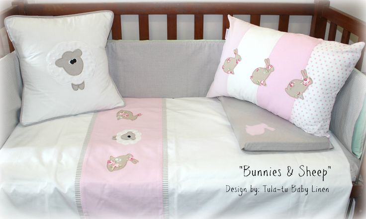 Bunnies & Sweet Sheep Cot linen in stone, pink & white. Can be customised  Designed by Tula-tu Baby Linen #cotlinen #nurserylinen #babylinen