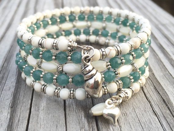 Beachy Love Multi Coil Memory Wire Bracelet With Charms