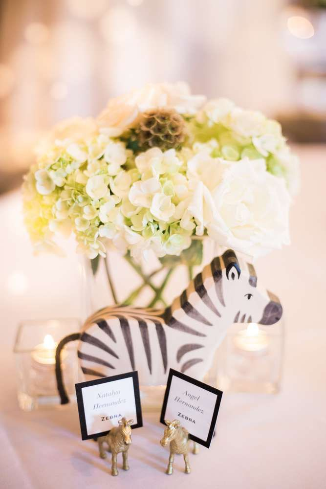 Centerpieces at a jungle baby shower party! See more party ideas at CatchMyParty.com!