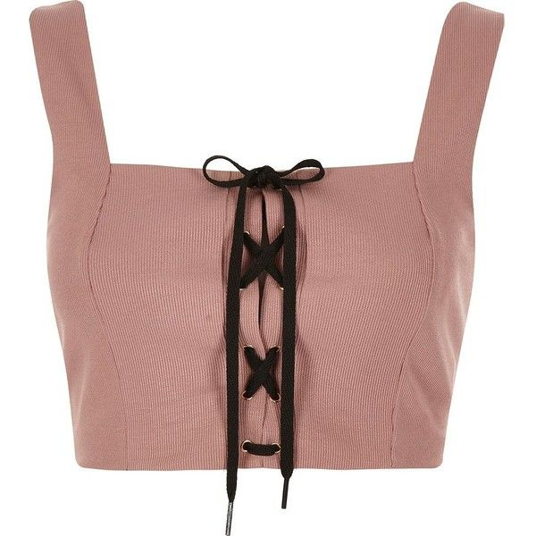 River Island Nude structured corset tie crop top ($48) ❤ liked on Polyvore featuring tops, crop tops / bralets, nude, women, crop corset, tie top, fitted crop tops, structured top and tie corset