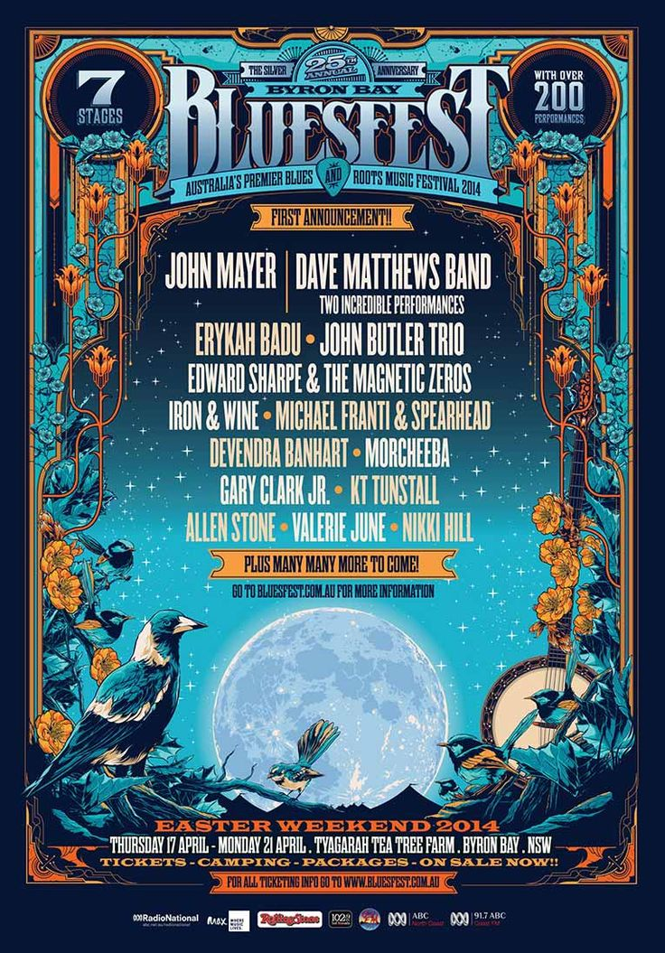 Headliners announced for the 2014 Byron Bay Blues & Roots Festival. #JohnMayer #DaveMatthewsBand
