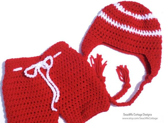 Hockey Set Baby Red Team Hockey Pants Crochet by SeacliffeCottage, $40.00