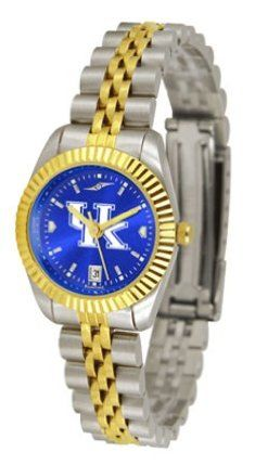 """Kentucky Wildcats NCAA AnoChrome """"Executive"""" Ladies Watch by SunTime. $169.20. Two-Tone Solid Stainless Steel Band. 23kt Gold Plate Bezel. Stainless Steel Case. Safety Clasp. Calendar Date Function. The ultimate fan's statement, our Executive timepiece offers men and women a classic, business-appropriate look. Features a 23kt gold-plated bezel, stainless steel case and date function. Secures to your wrist with a two-tone solid stainless steel band complete with safety cla..."""