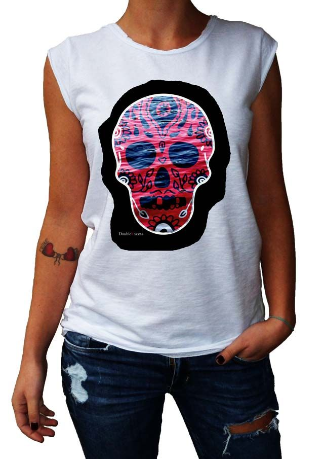 Women's T-Shirt BLACK WATER SKULL - Made in Italy - 100% Cotton - SKULL COLLECTION http://www.doubleexcess.com/