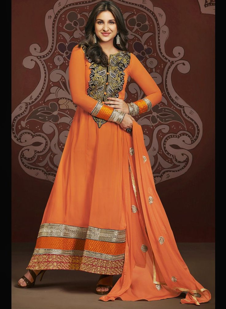 Parineeti Chopra Orange Anarkali Dress - SK1521 | Indian Trendz