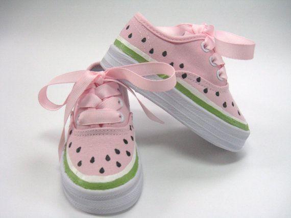 Niños zapatos, mano zapatillas de sandía de la muchacha, niños, bebé y lienzo pintado, rosa