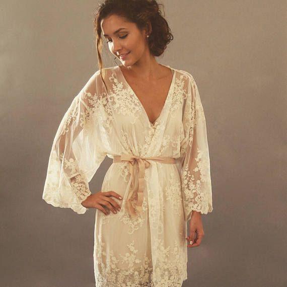 Bridal Lingerie, Lace Kimono Robe, Bridal Underwear, Bridal robes, Getting ready robes, Sheer Kimono, Wedding Lingerie, Bride Robe - HELENA